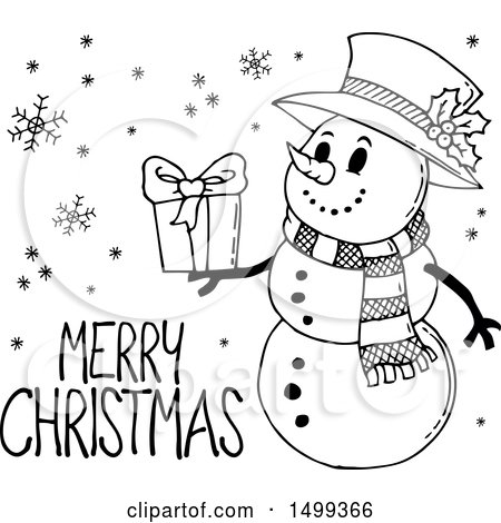 Merry Christmas Images Black And White.Clipart Of A Black And White Snowman With A Merry Christmas