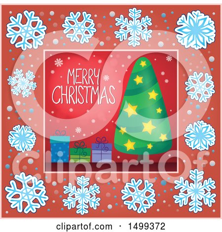 Clipart of a Merry Christmas Greeting with a Tree and Gifts in a Snowflake Border - Royalty Free Vector Illustration by visekart