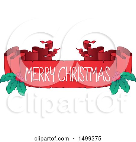 Clipart of a Merry Christmas Ribbon Banner with Holly - Royalty Free Vector Illustration by visekart