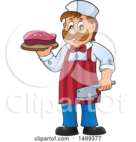 Clipart of a Male Butcher Holding a Steak and Cleaver Knife - Royalty Free Vector Illustration by visekart