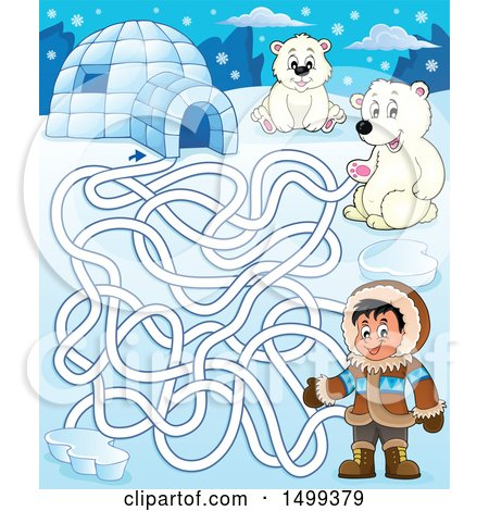 Clipart of a Polar Bear Igloo and Eskimo Arctic Maze - Royalty Free Vector Illustration by visekart