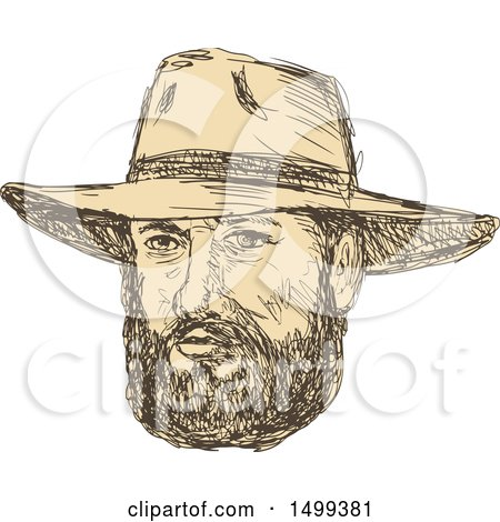 Clipart of a Sketched Bearded Cowboy Face - Royalty Free Vector Illustration by patrimonio