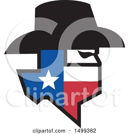 Clipart of a Profiled Bandit Face with a Hat and Texas State Map - Royalty Free Vector Illustration by patrimonio