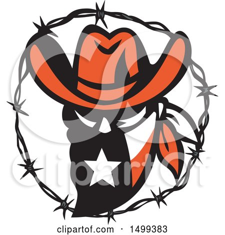 Clipart of a Texas Outlaw Face Wearing a Bandana in a Barbed Wire Frame - Royalty Free Vector Illustration by patrimonio