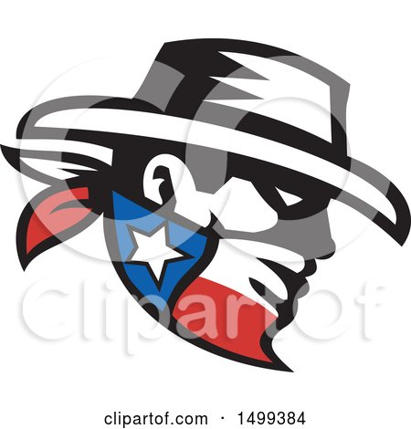 Clipart of a Retro Profiled Cowboy Bandit Face Wearing a Texan Bandana - Royalty Free Vector Illustration by patrimonio