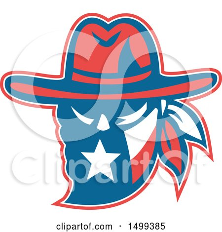 Clipart of a Retro Texan Outlaw Wearing a Bandit and Cowboy Hat - Royalty Free Vector Illustration by patrimonio