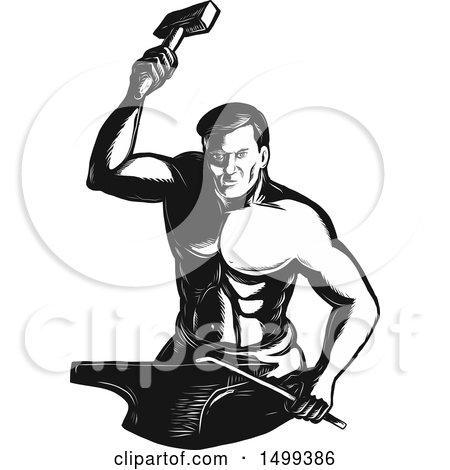 Clipart of a Retro Male Blacksmith in Engraving Style - Royalty Free Vector Illustration by patrimonio