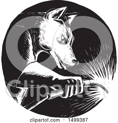 Clipart of a Black and White Welding Wolf in a Circle, in Woodcut Style - Royalty Free Vector Illustration by patrimonio