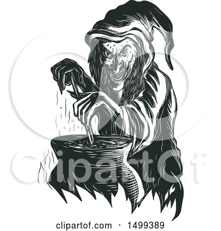 Clipart of a Sketched Witch Stirring Her Brew in a Cauldron - Royalty Free Vector Illustration by patrimonio