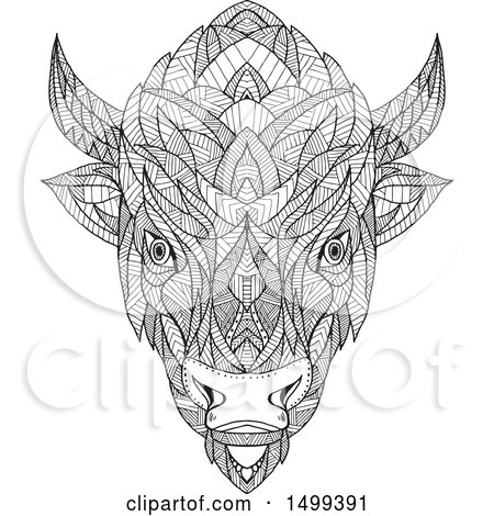 Clipart of a Zentangle Black and White American Bison Head in Mandala Style - Royalty Free Vector Illustration by patrimonio