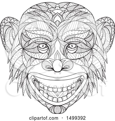 Clipart of a Zentangle Black and White Chimpanzee Head in Mandala Style - Royalty Free Vector Illustration by patrimonio