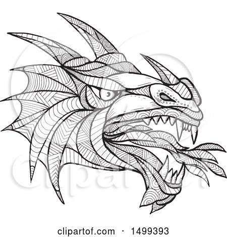 Clipart of a Zentangle Black and White Dragon Head - Royalty Free Vector Illustration by patrimonio