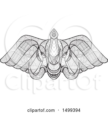 Clipart of a Zentangle Black and White Elephant Head - Royalty Free Vector Illustration by patrimonio
