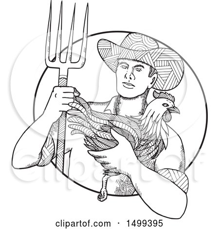 Clipart of a Zentangle Black and White Farmer Holding a Chicken and Pitchfork - Royalty Free Vector Illustration by patrimonio