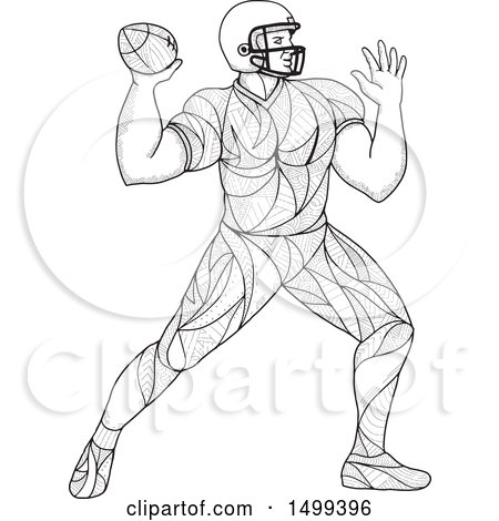 Clipart of a Zentangle Black and White American Football Player Throwing - Royalty Free Vector Illustration by patrimonio