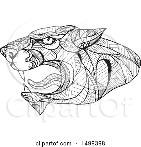 Clipart of a Black and White Zentangle Styled Roaring Panther Head - Royalty Free Vector Illustration by patrimonio