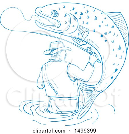 Clipart of a Sketched Wading Fly Fisherman with a Jumping Trout Fish - Royalty Free Vector Illustration by patrimonio
