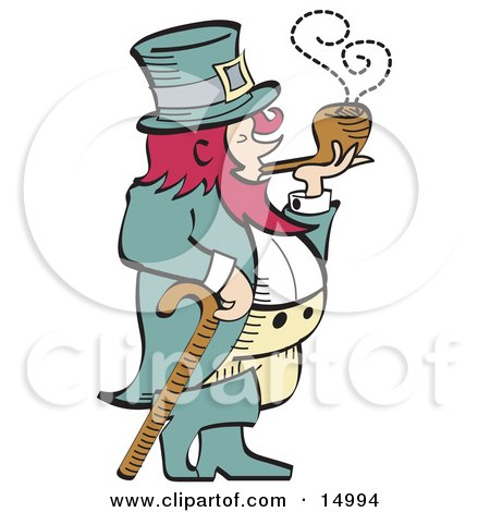 Short, Pink Haired Leprechaun Leaning On A Cane And Smoking A Pipe Clipart Illustration by Andy Nortnik