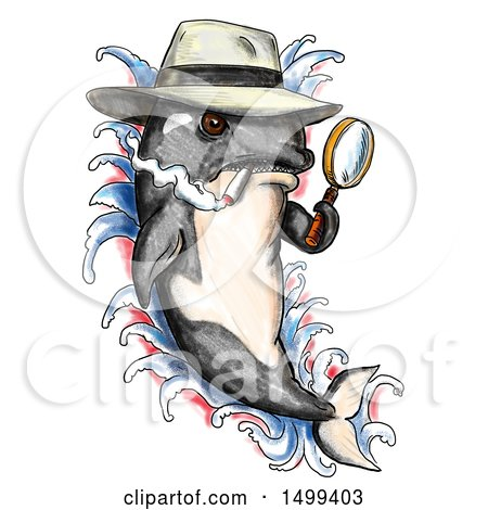 Clipart of a Killer Whale Orca Detective Holding a Magnifying Glass, on a White Background - Royalty Free Illustration by patrimonio