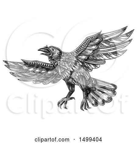 Clipart of a Flying Raven or Crow Bird, on a White Background - Royalty Free Illustration by patrimonio
