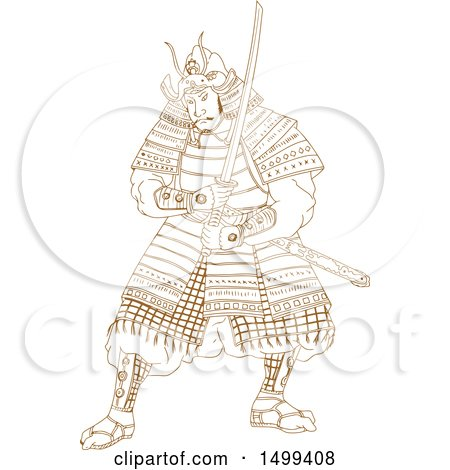 Clipart of a Sketched Samurai Warrior Holding a Katana Sword - Royalty Free Vector Illustration by patrimonio