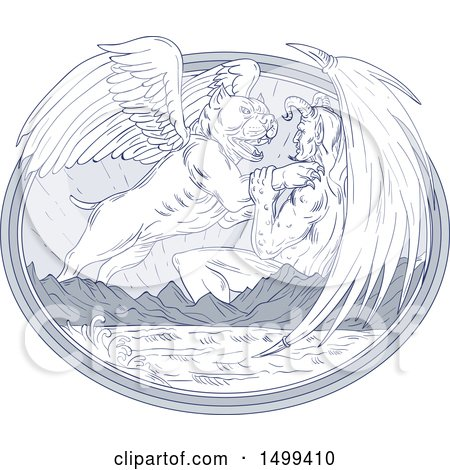 Clipart of a Sketched Winged Bulldog Angel Fighting a Devil over Mountains and Sea - Royalty Free Vector Illustration by patrimonio