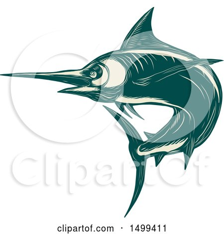 Clipart of a Swimming Marlin Fish in Scratchboard Style - Royalty Free Vector Illustration by patrimonio