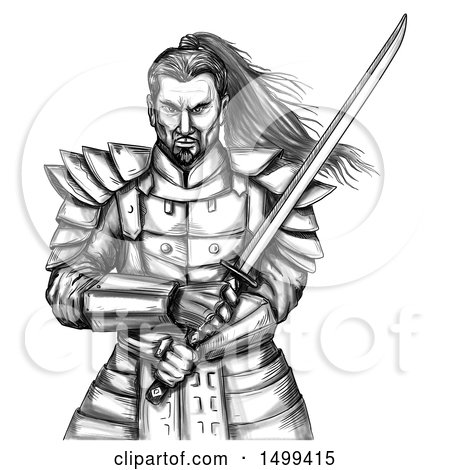 Clipart of a Sketched Tough Samurai Warrior Holding a Katana Sword, on a White Background - Royalty Free Illustration by patrimonio