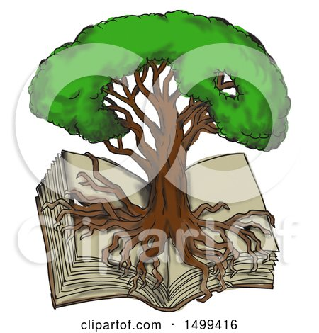 Clipart of a Sketch Styled Oak Tree with Roots Growing over an Open Book, on a White Background - Royalty Free Illustration by patrimonio