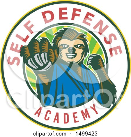 Clipart of a Karate Sloth Mascot Punching in a Self Defense Academy Circle - Royalty Free Vector Illustration by patrimonio