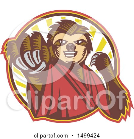 Clipart of a Karate Sloth Mascot Punching - Royalty Free Vector Illustration by patrimonio