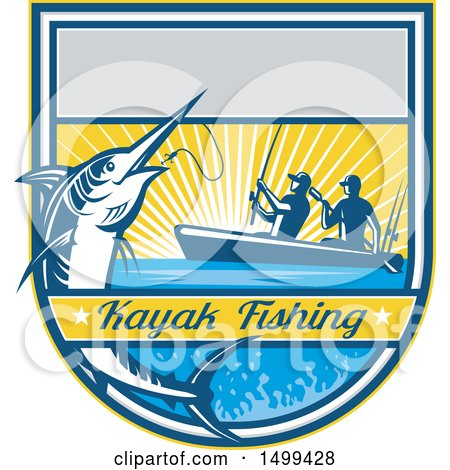 Clipart of a Jumping Marlin Fish Being Reeled in by Two Men Tandem Fishing with Text - Royalty Free Vector Illustration by patrimonio