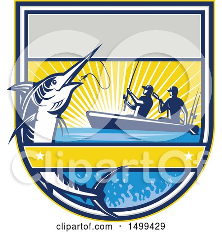 Clipart of a Jumping Marlin Fish Being Reeled in by Two Men Tandem Fishing from a Boat - Royalty Free Vector Illustration by patrimonio