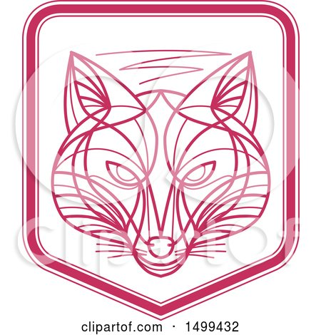 Clipart of a Pink and White Fox Face Shield - Royalty Free Vector Illustration by patrimonio