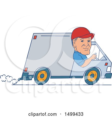 Clipart of a Male Delivery Driver in a Van - Royalty Free Vector Illustration by patrimonio