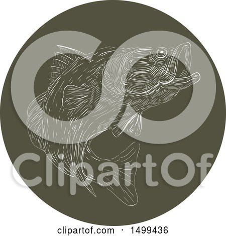 Clipart of a Largemouth Bass in a Dark Green Circle - Royalty Free Vector Illustration by patrimonio