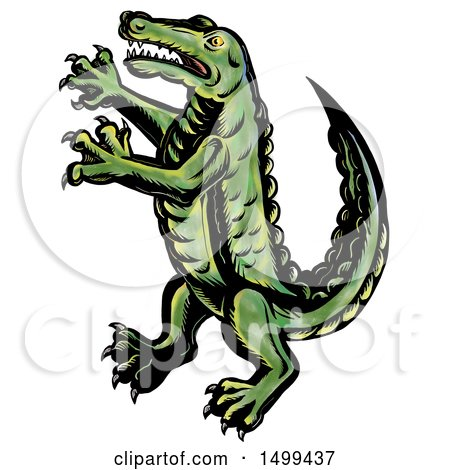 Clipart of a Rampant Crocodile or Alligator, on a White Background - Royalty Free Illustration by patrimonio