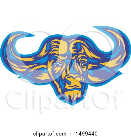 Clipart of a Blue and Yellow Cape Buffalo Head - Royalty Free Vector Illustration by patrimonio