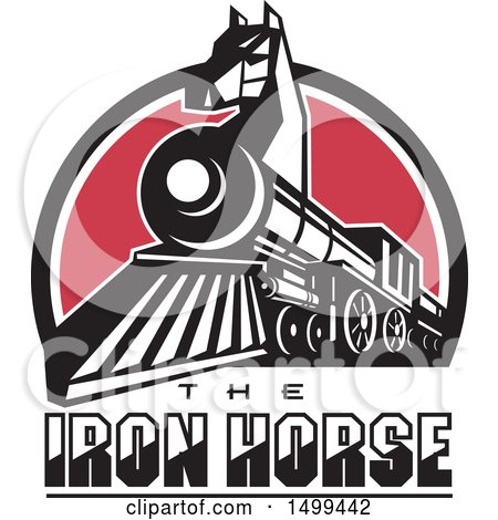 Clipart of a Iron Horse Headed Train in a Red White and Blue Half Circle with Text - Royalty Free Vector Illustration by patrimonio