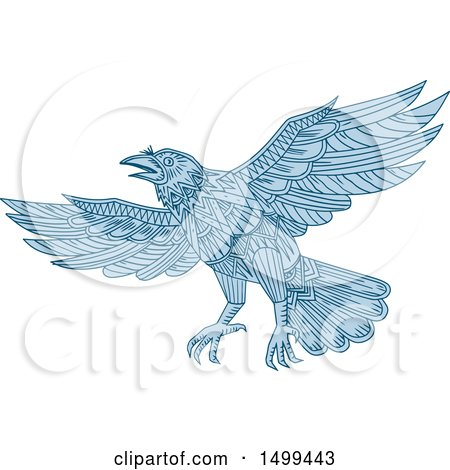Clipart of a Blue Flying Raven in Mandala Style - Royalty Free Vector Illustration by patrimonio