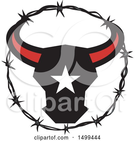 Clipart of a Texas Longhorn Bull Head with a Star in a Barbed Wire Frame - Royalty Free Vector Illustration by patrimonio