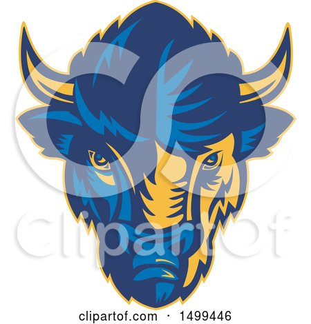 Clipart of a Blue and Yellow American Bison Buffalo Head - Royalty Free Vector Illustration by patrimonio