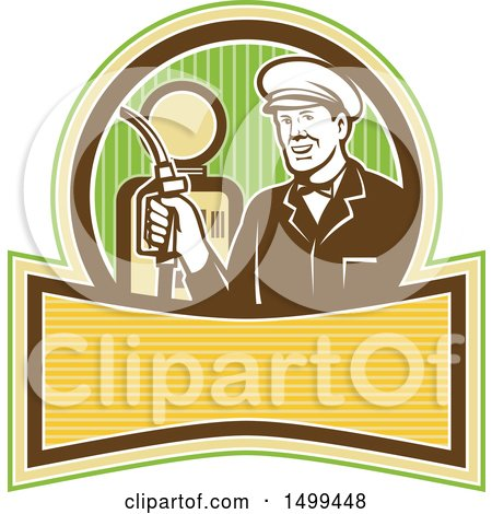 Clipart of a Retro Gas Station Attendant Holding a Nozzle over a Pump - Royalty Free Vector Illustration by patrimonio