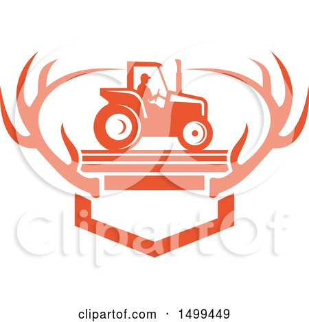 Clipart of a Farmer Operating a Tractor over Mounted White Tail Deer Antlers - Royalty Free Vector Illustration by patrimonio