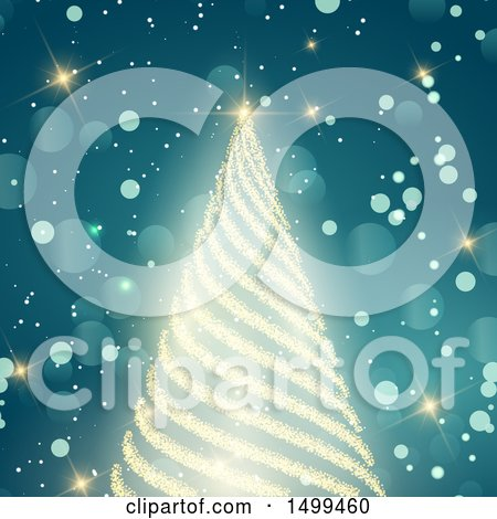 Clipart of a Bright Gold Glitter Christmas Tree on Blue Flares - Royalty Free Vector Illustration by KJ Pargeter