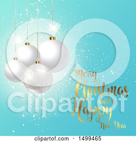 Clipart of a Merry Christmas and a Happy New Year Design with Baubles on Blue - Royalty Free Vector Illustration by KJ Pargeter
