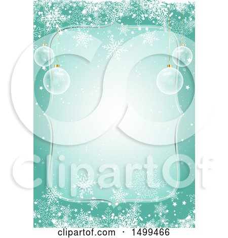 Clipart of a Christmas Border with 3d Baubles and Snowflakes - Royalty Free Vector Illustration by KJ Pargeter