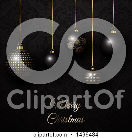 Clipart of a Merry Christmas Greeting with Suspended Bauble Ornaments over Black - Royalty Free Vector Illustration by KJ Pargeter