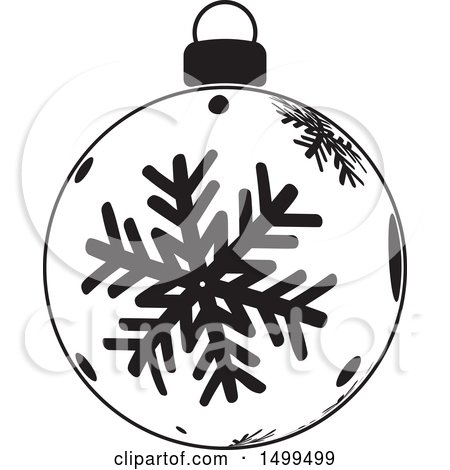 Clipart Of A Black And White Christmas Bauble Ornament With