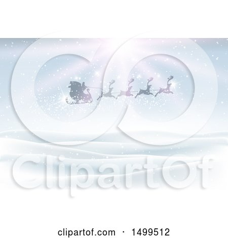 Clipart of a Silhouetted Magic Santa Sleigh and Reindeer Flying over a Winter Landscape with Sunshine - Royalty Free Vector Illustration by KJ Pargeter